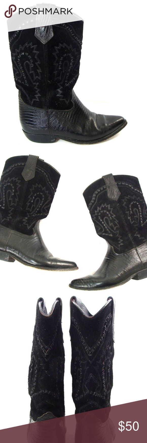 seychelles black suede cowboy boots Seychelles Women's Black Suede Leather Western Cowboy Boots Made in Mexico  Size 6.5 Some wear on bottom soles and minor scratches in leather upper. Otherwise, great pre-owned condition. Seychelles Shoes Combat & Moto Boots