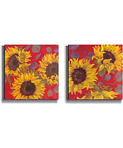 @Overstock - Artist: Shari White  Title: Sunflower  Type: Unframed canvas arthttp://www.overstock.com/Home-Garden/Shari-White-Sunflower-2-piece-Stretched-Canvas-Set/2682568/product.html?CID=214117 $73.99
