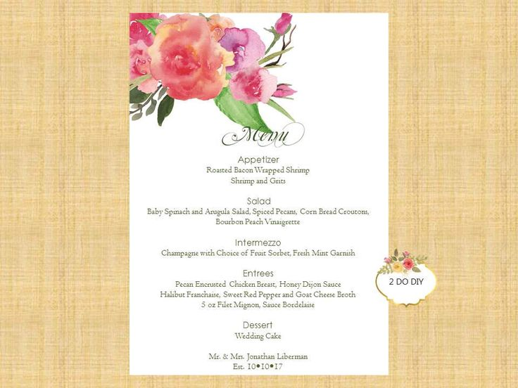 The 25+ best Diy menu cards ideas on Pinterest Diy wedding menu - menu template word free