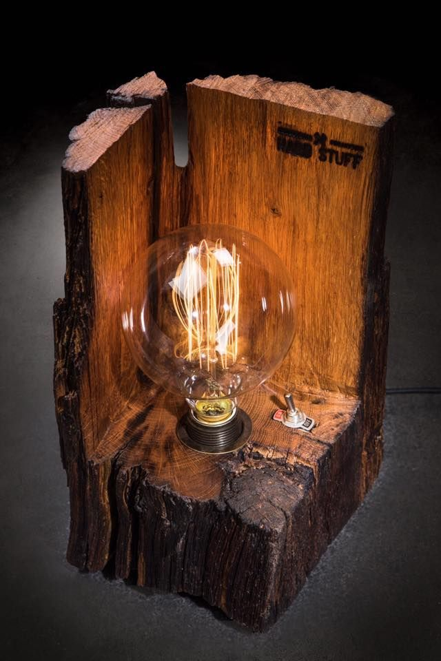 '' The Cube '' table lamp made of 100+ years old oak in combination with industri