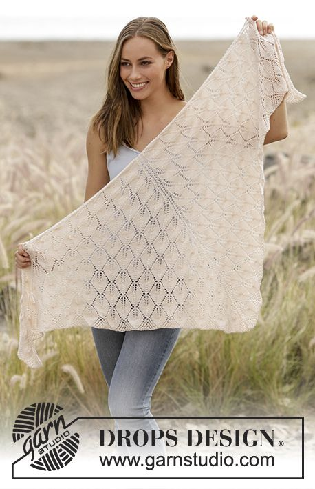 Knitted shawl with leaf pattern in DROPS BabyAlpaca Silk, worked top down. Free pattern by DROPS Design.