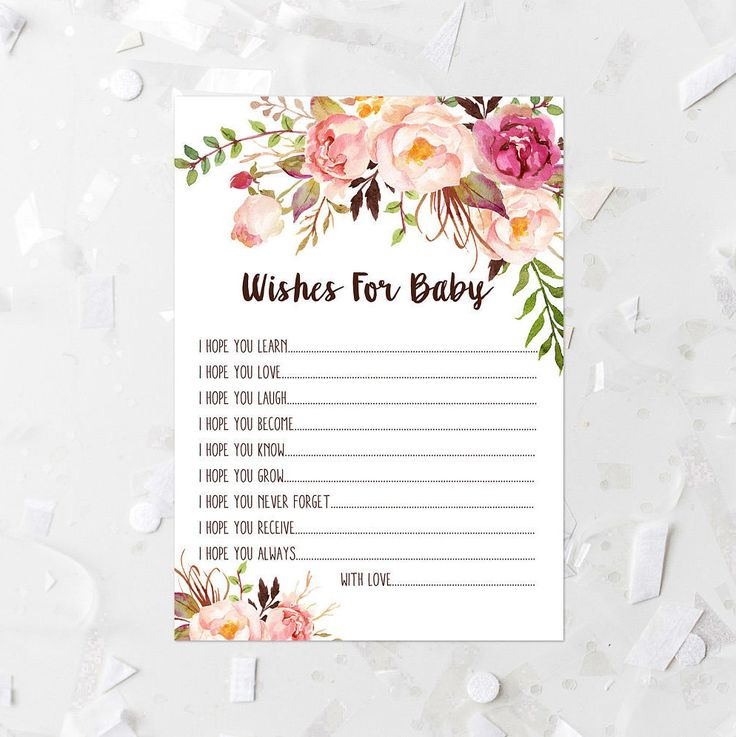 Bohemian Floral Wishes For Baby Printable Floral Baby Shower Game Girl Baby Shower Activity Pink Floral Baby Game Mingling Shower Game 265 by MossAndTwigPrints on Etsy