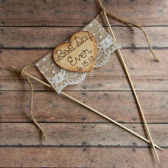 Cake Topper Burlap & Lace Bunting Flag Banner Best by justforkeeps