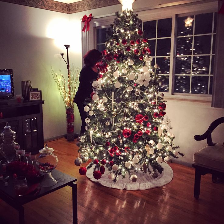 My 2015 Christmas Tree! I worked Hard on this One #YoungMartha   oh BTW that's my Mommy helping putting on finishing Touches