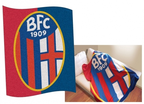BALANZONE PLAID ROSSO BLU  Plaid di colore rosso/blu con stemma grande del Bologna F.C.