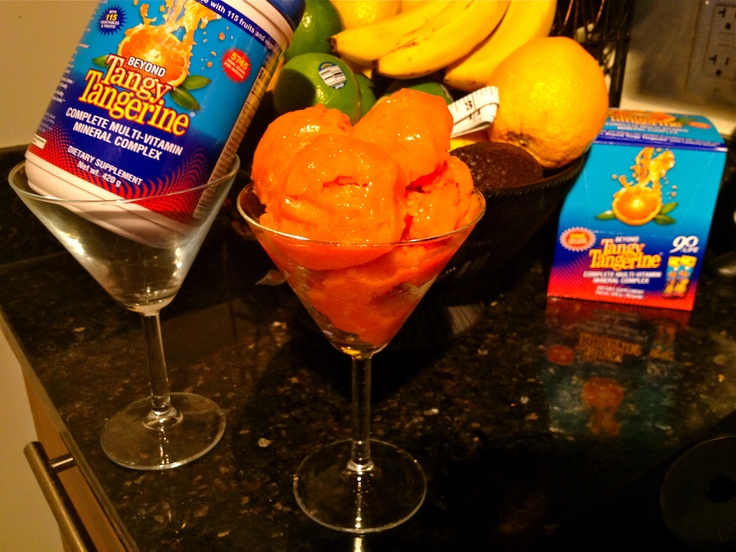 Beyond Tangy Tangerine Mango Sorbet    Ingredients  2 Mangos  1 Tbsp Stevia  1 Cup Water  2 Scoops Youngevity Beyond Tangy Tangerine :)  1 Tbsp Maple Syrup  1 Tsp Lime Juice    1) Peel & slice mangos. Puree them w/food processor or hand-held mixer    2) Add lime juice    3) Boil ur water, add maple syrup then add to mango puree    4) Add Stevia & Beyond Tangy Tangerine    5) Mix high speed 1 min, set in Freezer    6) Whisk mix per hour, least 2-3 x's to get smooth consistency    7) Enjoy! :)Mango Puree, Add Limes, Limes Juice, Add Stevia, Mango Sorbet, Cups Water, Maple Syrup, Add Maple, Tangy Tangerine