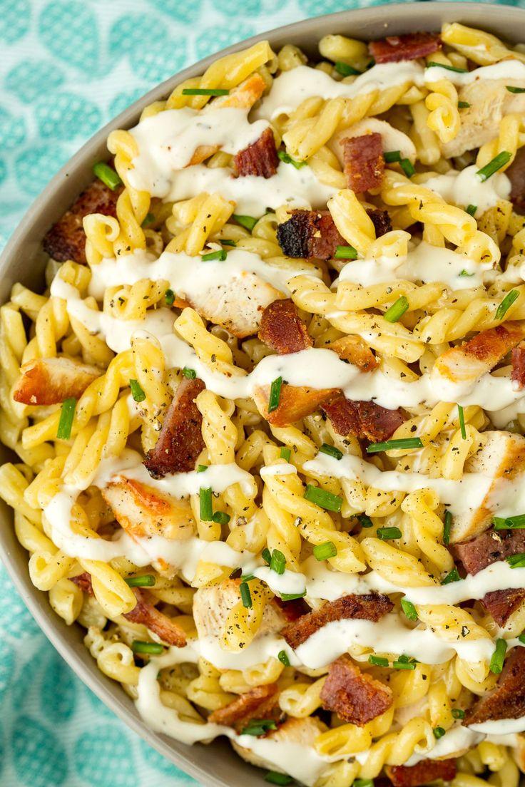 Chicken-Bacon-Ranch Pasta Salad  - Delish.com