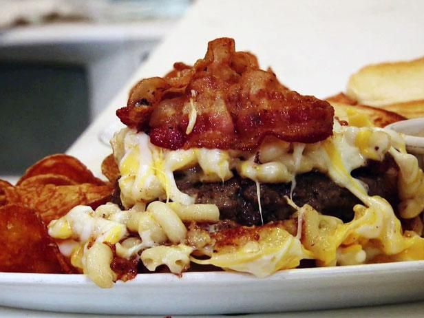 15 Best Burgers from Diners, Drive-Ins and Dives. Mac Attack Burger: beef patty, bacon and a mac and cheese made with cheddar, american, pecorino romano and parmesan.