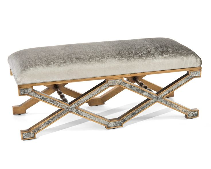 Denton X Églomisé Bench - Upholstered Exposed Wood - Upholstered Furniture - Our Products