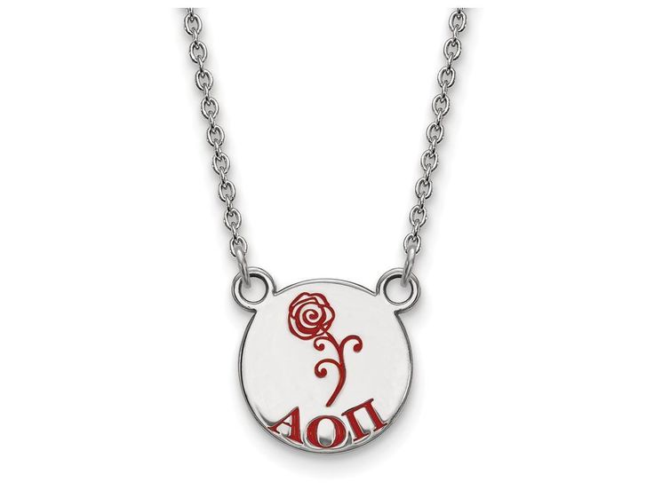 LogoArt Sterling Silver Alpha Omicron Pi Extra Small Enameled Pendant Necklace With 18 Inch