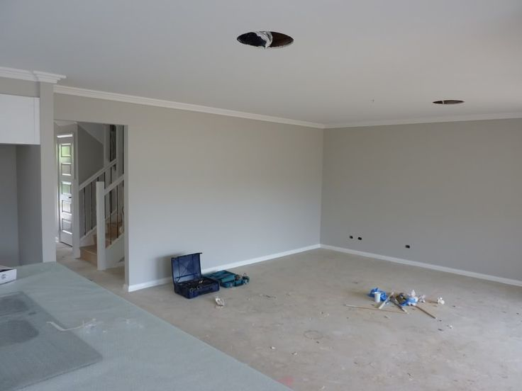 "Dulux ""grey pebble"" - skirting is ""Vivid white"""
