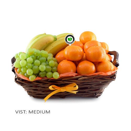 Orange Splash is brimming with refreshing fruit such as oranges, clementines, bananas and grapes. This gift basket is decorated with orange colors and is suitable for most occasions. It's freshly made and delivered to the door in Norway!