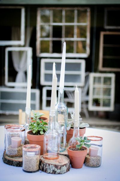 décoration mariage, wedding, centerpiece, centre de table, bois, wood