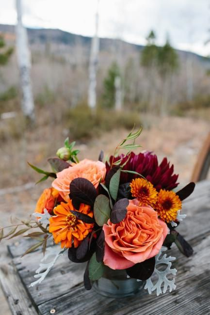 Fall Centerpiece At C Lazy U Ranch Featuring Roses Zinnias Dahliaums In Orange Burgundy Wine And Gray By Plum Sage Flowers