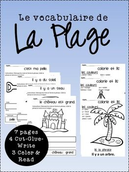 set of 7 pages to work with vocabulary related to the beach in French.