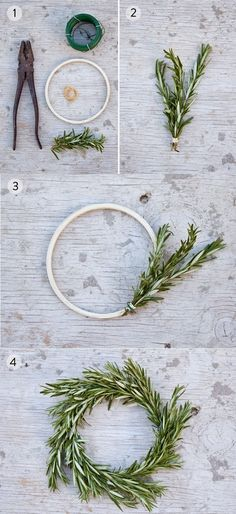 DIY Rosemary Wreath - would be cute with a candle in the middle on a thanksgiving or christmas table