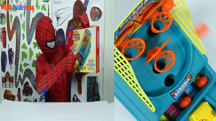 Red Spiderman  - Unboxing basketball game - playing basketball with Spid...