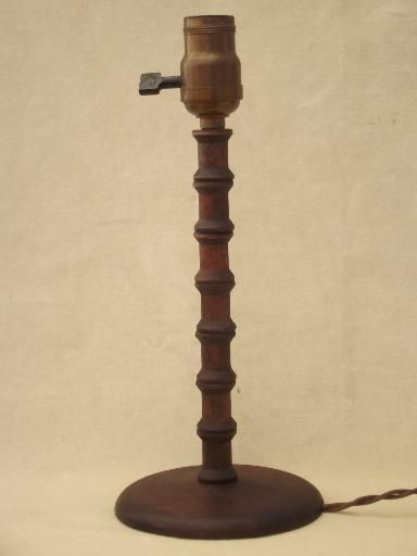 1930s table lamp, wood spool furniture folk art made from thread spools