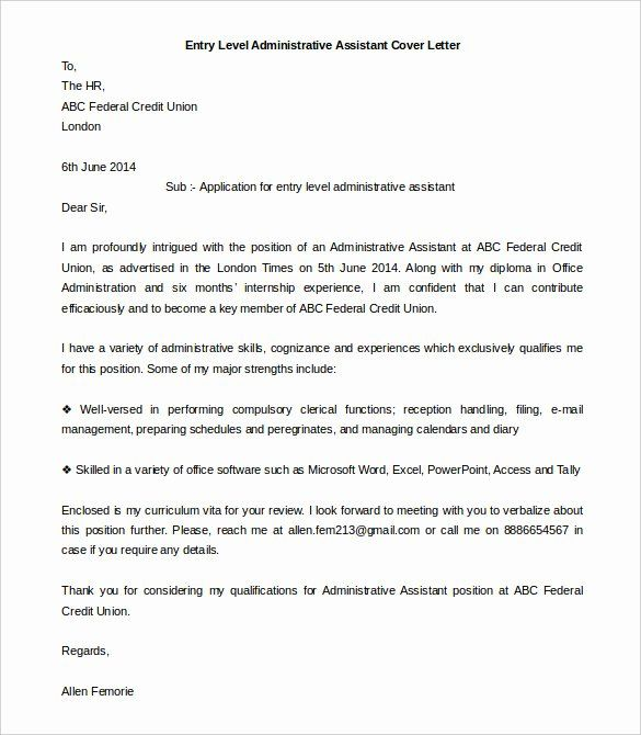 Administrative Assistant Cover Letter Template Beautiful 55 Cover