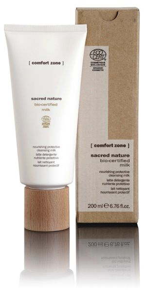 #ComfortZone Sacred Nature Milk. Nourishing protective cleansing milk. A soft creamy milk which is extremely delicate and rich in natural and organic active ingredients. The perfect solution for depleted and delicate skins which require nourishment and protection even during cleansing. With organic buriti oil, butterfly bush extract, shea butter & orange distilled water.