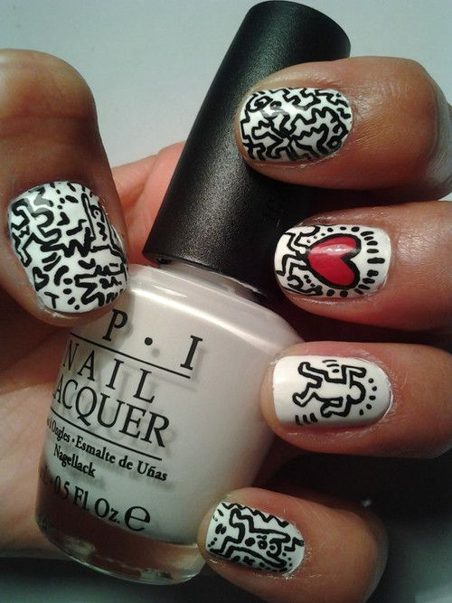 ...: Nails Art Ideas, Nails Design, New Nails, Nails Ideas, Keith Haring, Nails Polish, Haring Nails, Art Pop, Art Nails