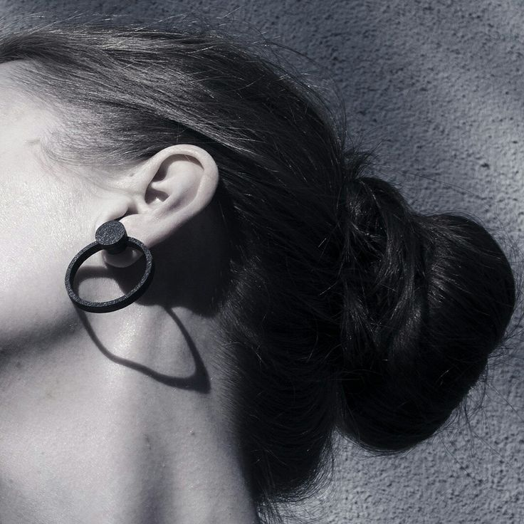 Personal hoop earring featuring a small black orb in its orbit. Fit for anything, and you're ready to roll! #hoop #earrings