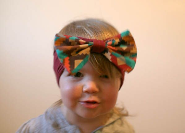 Maroon Aztec bow-band/ bow band/ big bow headband/ baby bow headband/ toddler bow headband/ headwrap/ turban https://www.etsy.com/shop/whimswear?section_id=16730407&ref=shopsection_leftnav_1