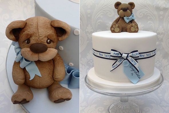 vintage teddy bear cake for boys by Scrumdiddly Cakes