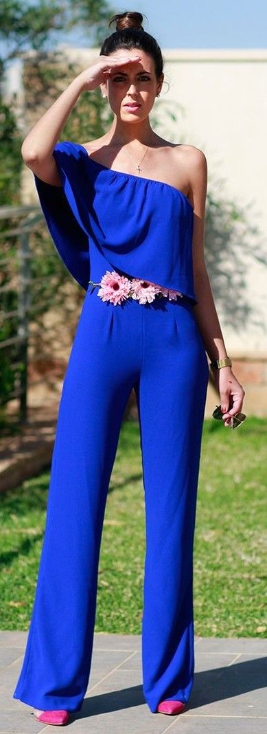 #summer #trending #outfits | One Shoulder Blue Cobalt Jumpsuit