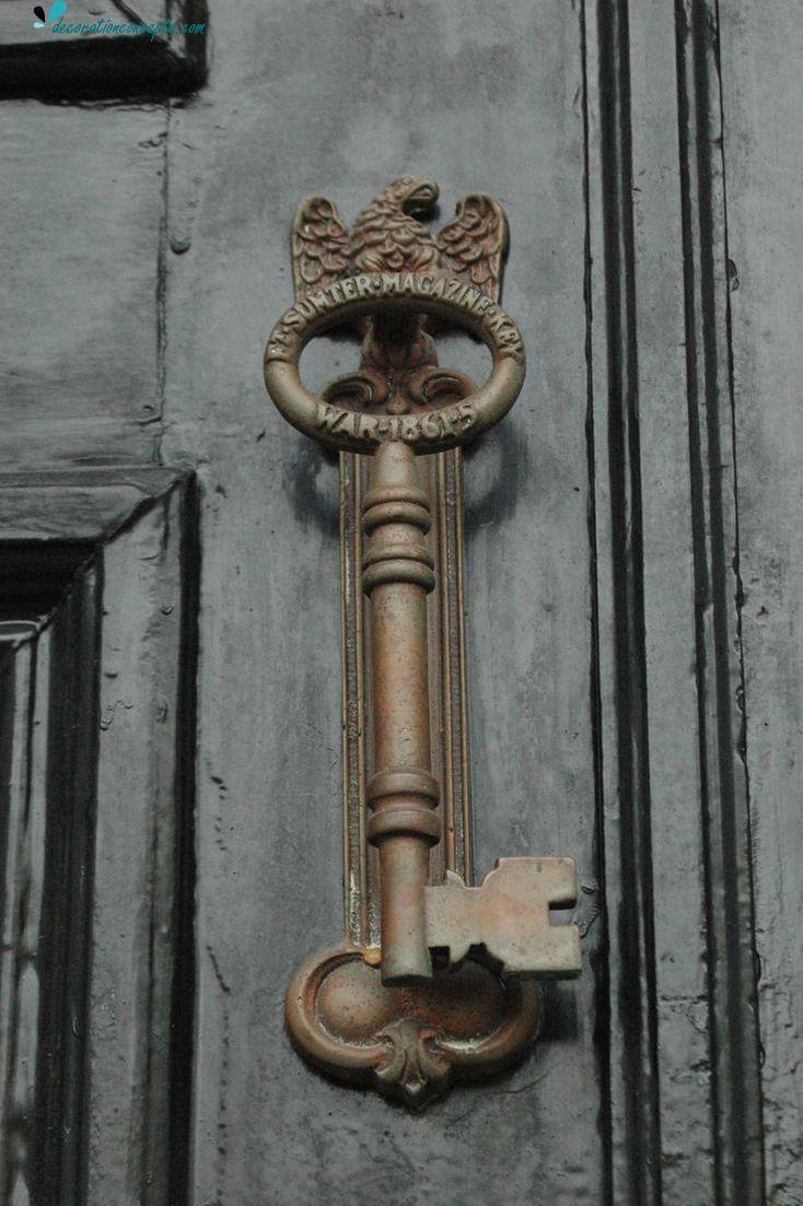 Skeleton key door knocker or handle