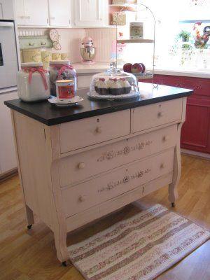 Dresser/Kitchen island  http://rosevinecottagetwo.blogspot.com/2009/05/my-other-kitchen-island.html