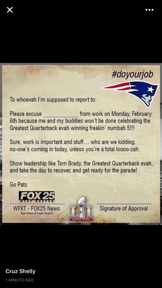 Work Absence Form for New England Patriots Fans That Have a Wicked Good Time. LOL good one