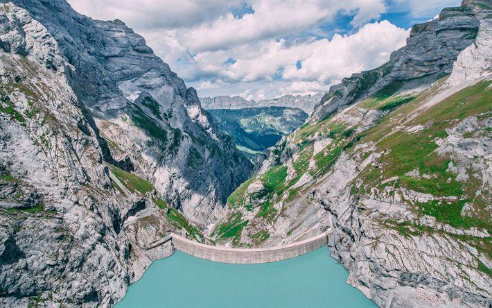 Download wallpapers Mauvoisin Dam, 4k, Swiss Alps, Europe, Switzerland, Alps, mountains