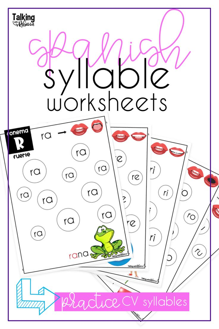 Cv syllable worksheets in spanish in 2020 articulation