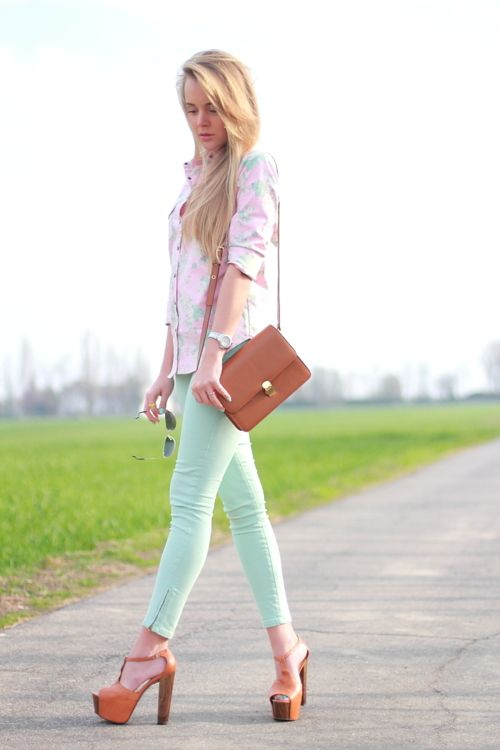 Zara mint pants, Jessica Simpson heels, Mango shirt, and Forever 21 rings and necklace.: Shoes, Mint Green, Fashion Style, Style Inspiration, Dream Closet, Color, Outfit, Mint Jeans