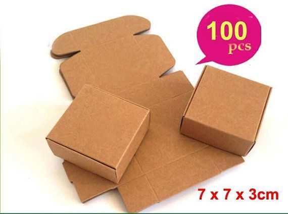 f1ccae7f6c6 100pcs- DIY Kraft Paper Favor Box Small Brown Kraft Jewelry Wedding Wrapping  Soap Candy Boxes Mini Square Gift Packaging 7x7x3cm