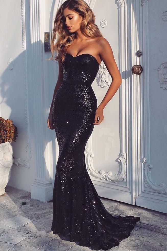 Black Sequins Long Prom Dress