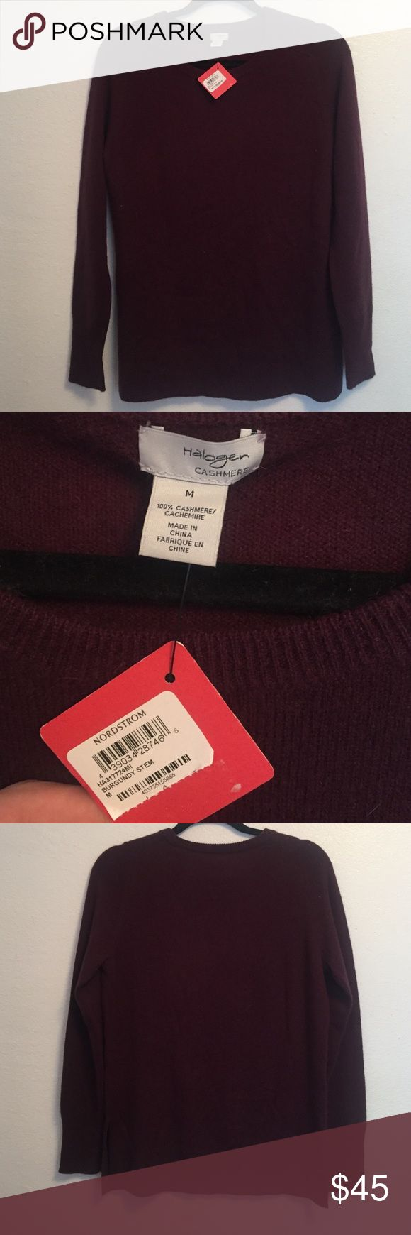 Women's HALOGEN Cashmere Sweater size M NWT In perfect mint new with tags condition! Beautiful burgundy women's Cashmere sweater.. HALOGEN label from Nordstrom Halogen Sweaters Crew & Scoop Necks