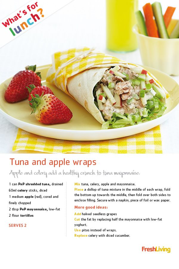 The mercury is rising! Cool down with crunchy #tuna and #apple #wraps - a healthy take on traditional tuna mayo sarmies.  #dailydish #picknpay #recipe #lunch