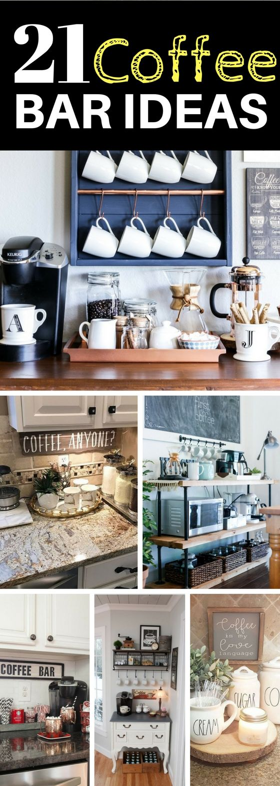 Coffee bar ideas that are simply out of this world. So many fantastic ways to make the kitchen and home decor look great with these coffee bar ideas! Includes rustic, farmhouse, industrial, and modern layouts for your own diy station.