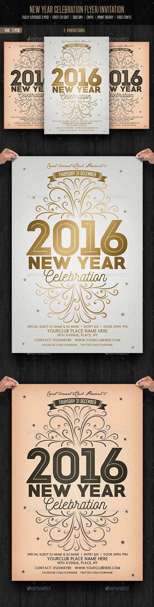 New Year Celebration Flyer — Photoshop PSD #vintage #nightclub • Available here → https://graphicriver.net/item/new-year-celebration-flyer/13724968?ref=pxcr
