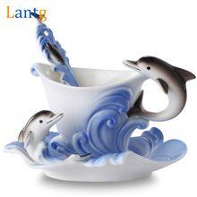 Renkli Emaye Kahve Kupa Porselen Takım Yaratıcı Yunuslar Avrupa kupalar ve bardak, bir fincan kahve + disk + scoop Arkadaşı için mevcut(China (Mainland))