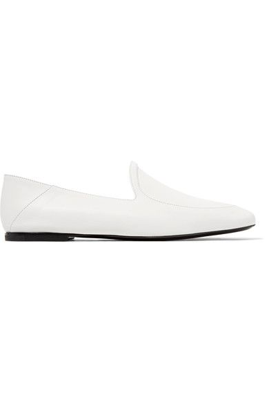 OPTIC WHITE: Jil Sander's Italian-made loafers offer two looks in one - collapse the back to convert them into slippers. Try yours with midi dresses or tailored pants.