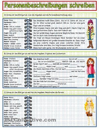 Personenbeschreibung schreiben_1 Arbeitsblatt - Kostenlose DAF Arbeitsblätter