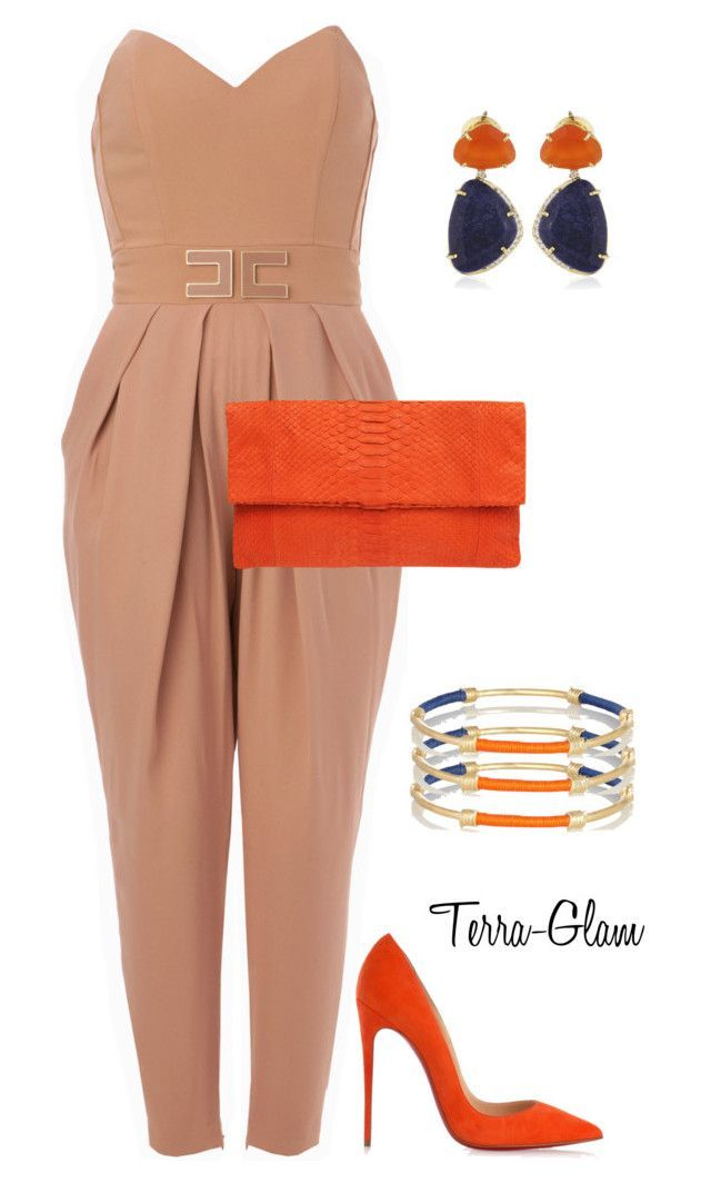 """""""Awesome Orange"""" by terra-glam ❤ liked on Polyvore featuring Elisabetta Franchi, Primary, Christian Louboutin, Vianna B.R.A.S.I.L and Aurélie Bidermann"""
