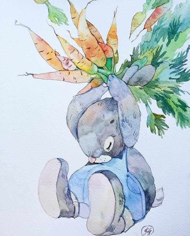 Третья акварелька из серии для детской комнаты (не влезает полностью, увы и освещение вечернее) #детскаяиллюстрация #иллюстрация #illustration #акварельныйрисунок #мило #заяц #fun #sweety #rabbit #невскаяпалитра #fabriano #fabrianopaper #workinprogress #art #topcreator #instaart #carrot #kidsroom #forbaby #watercolor #aquarelle #детская #детскаякомната #оформление #оформлениедетской #длядетей #детскийинтерьер #зайка #botanica #ботаника