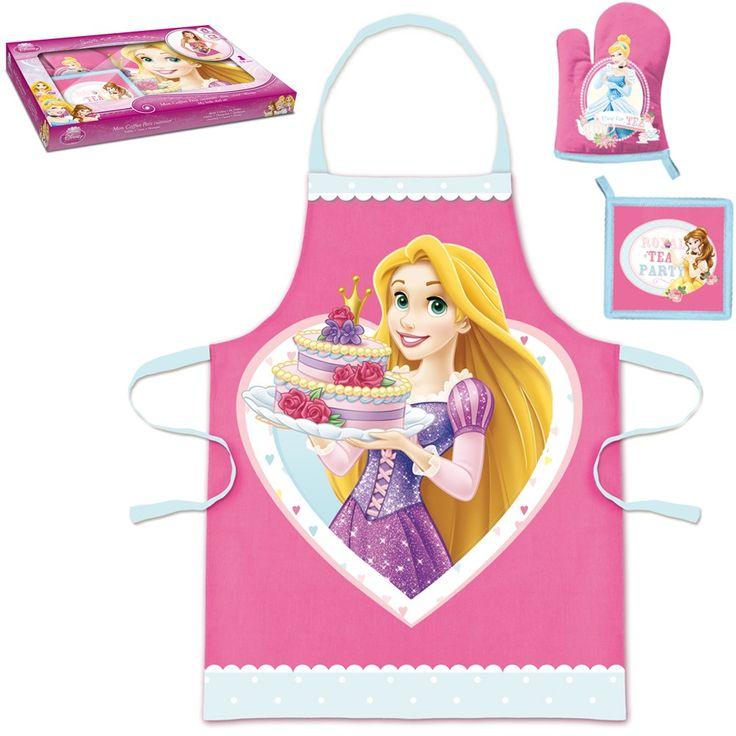 Coffret petite cuisinière Princesses composé d'un tablier, d'un gant et d'une manique