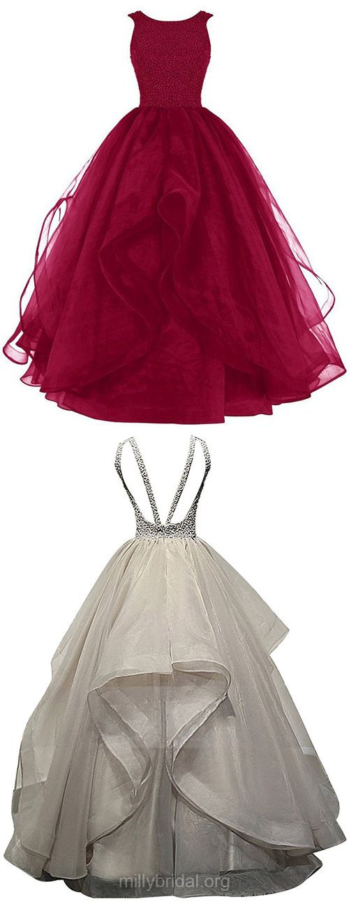Burgundy Prom Dresses,Ball Gown Evening Dresses,Scoop Neck Long Formal Dress,Organza with Beading Women Party Gowns