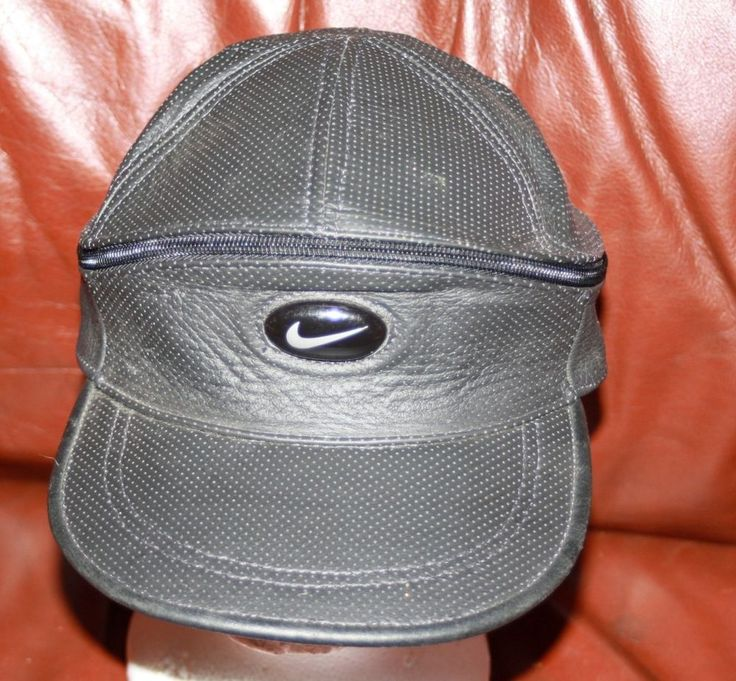 Mens NIKE convertible leather hat visor RARE black adjustable #Nike #Visor
