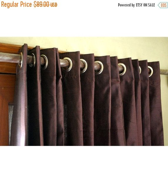 "10% THANKSGIVING SALE Pair of Deep Plum Silk Curtain Panels 26""x84"" Grommet Drapes Home And Living Bedroom Decor And Housewares Valance Wind"